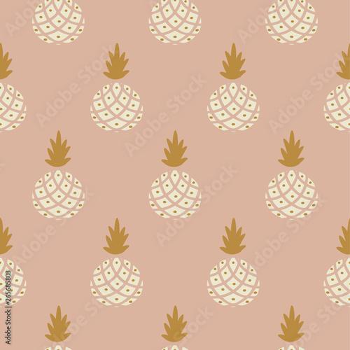 Elegant pineapple blush colored fabric wallpaper seamless vector print Wallpaper Mural