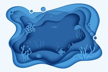Paper Cut Butterflyfish, Jellyfish, Moonfish, Turtle. Paper Craft Underwater Ocean Cave With Fishes, Coral Reef, Seabed In Algae, Waves. Diving Concept, Deep Blue Marine Life. Vector Sea Wildlife.