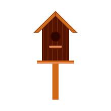 Nesting Box Animal Design Cartoon Element Vector Icon. Wooden Bird House Isolated White