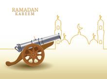 Ramadan Kareem With Canon And Mosque Shape