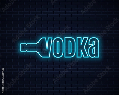 Photographie Vodka bottle neon sign. Lettering sign of vodka