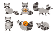 Cute Cartoon Raccoon Set. Funn...