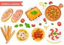 Italian Cuisine. Pizza, Spaghetti, Risotto, Bruschetta And Grissini. Classic Italian Food On Plates And Wooden Plank. Flat Vector Illustration On White Background