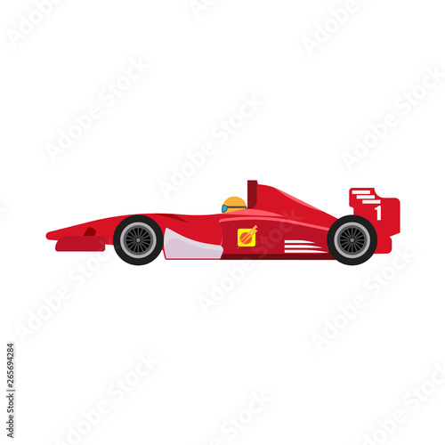 Formula 1 red racing car side view vector icon. Championship one motorsport extreme f1 vehicle drive