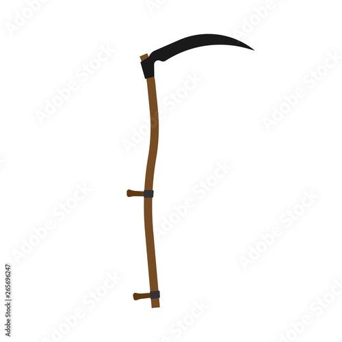 Fotografía Scythe black gardening harvest tool flat icon vector