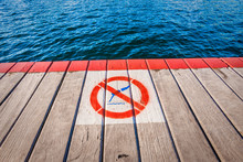 No Diving Sign Painted On Wood...