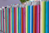 Płot w kształcie kolorowych kredek