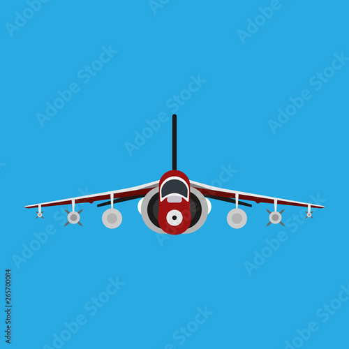 фотография  Military aircraft vector icon front view