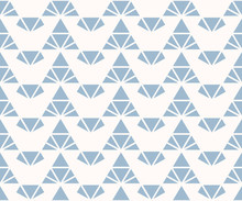 Triangles Seamless Pattern. Blue And White Vector Abstract Geometric Texture