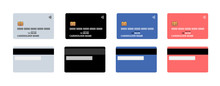 Bank Plastic Credit Or Debit Contactless Smart Charge Card Front And Back Sides With EMV Chip And Magnetic Stripe. Blank Design Template Mockup. Vector Illustration Set