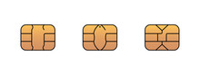 EMV Gold Chip Icon For Bank Pl...