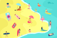 People Having Fun On The Beach. Summer Vacation Beach People Enjoying Time Vector Illustration.