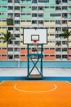 Choi Hung Estate Car Park, Narrow Apartments In The Public Housing Estate In Hong Kong, With A Basketball Court. Most Popular Place For Tourists. Empty Area, No People