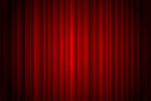 Closed Red Curtain Stage Background Spotlight Beam Illuminated. Theatrical Drapes. Vector Illustration