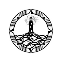 Lighthouse, Compass, Wave, Circle Logo Design Template. Vector Illustration.