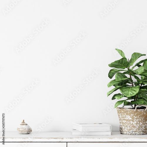 Wall interior mock up . Wall art. Scandinavian interior. 3d rendering, 3d illustration - 265707673