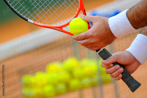 Fototapety, obrazy: tennis racket and ball on court