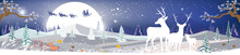 Landscapes Winter Wonderland,Vector Cartoon Of Santa Sleigh And Reindeers Flying Over Full Moon, Reindeers Family Looking At Father Christmas Sleigh Reindeers In The Sky, Merry Christmas Background