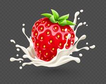 Yoghurt Splash With Ripe Red S...