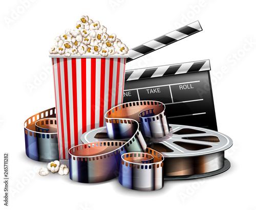 Online cinema art movie watching with popcorn, director clapper and reel film...