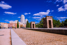Temple Of Debod. Egyptian Temple Donated By Egipt To Spain In 1968. Madrid, Spain. Picture Taken – 26 April 2019.