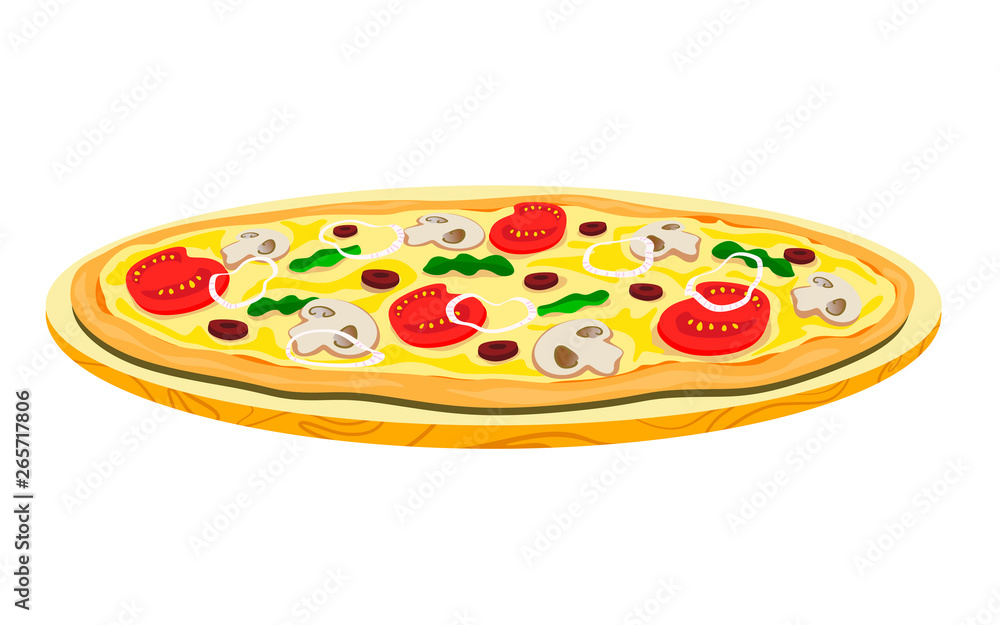 Vegetarian pizza with mushrooms and beans on a wooden tray. Vector illustration of a flat style.