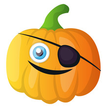 Pumpkin With A Black Patch On His Eye Illustration Vector On White Background