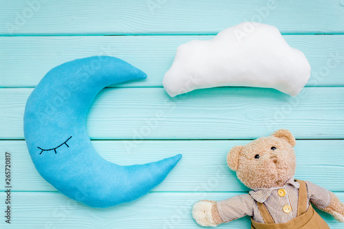 Baby Sleep Pattern With Moon Pillow Cloud Teddy Bear On Mint Green