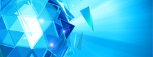 Abstract Blue Polygonal Glass ...