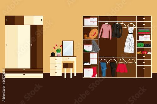 Fototapeta Vector Interior Design of Wardrobe Room Full of Women's Clothes. Vector illustration in Flat Style. Design Concept of Modern Interior of Walking Wardrobe Room obraz na płótnie
