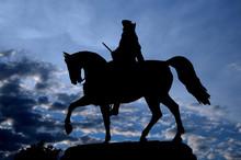 Silhouette Silhouette Picture Of The Equestrian Statue Of George Washington In Common Park, Boston