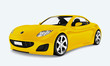 canvas print picture - Yellow sports car