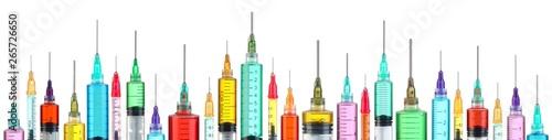 Fotografia  Row of bright colorful syringes