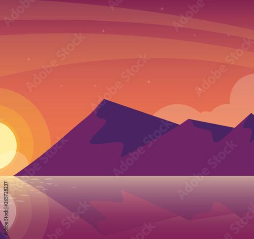 Cadres-photo bureau Bleu vert sky and mountains sunset beautiful scene