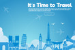 It's Time to Travel.Travel banner with sky.Modern flat design. EPS 10. Colorful.