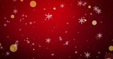 Golden, snowflakes and bokeh lights on the red Christmas background. 3D render - 265730446