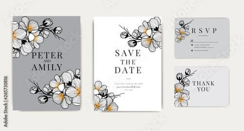 Fotografía Wedding Invitation, floral invite thank you, rsvp modern card Design in cherry b
