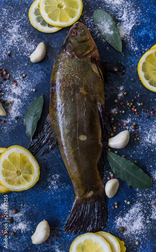 Fresh, caught in the river tench, cooked for roasting in the oven with garlic and lemon Tablou Canvas