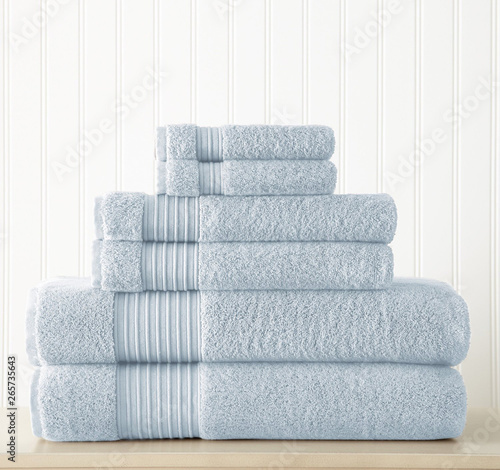 Cotton terry towel set. Dobby border towel set Canvas Print
