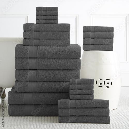 Photo  Cotton terry towel set. Dobby border towel set