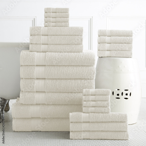 Cotton terry towel set. Dobby border towel set Wallpaper Mural