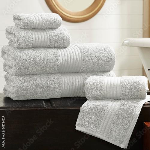 Cotton terry towel set. Dobby border towel set Wallpaper Mural