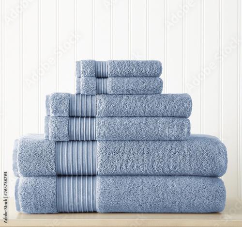 Fotografía Cotton terry towel set. Dobby border towel set