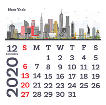 December 2020 Calendar Template With New York City Skyline.