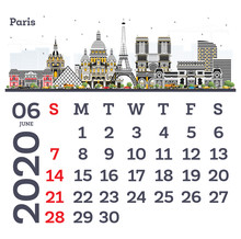 June 2020 Calendar Template With Paris City Skyline.