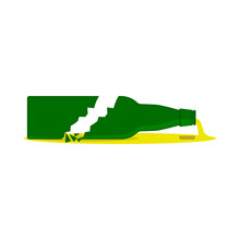 Broken Beer Bottle With Splinters And Puddle. Isolated Vector Icon. Flat Illustration.