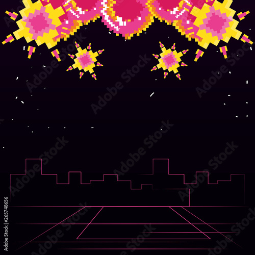 video game space scene pixelated - Buy this stock vector and