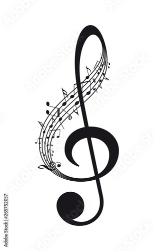 Obraz na płótnie Vector isolated music treble clef with notes