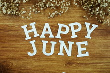 Happy June Alphabet Letter With Space Copy On Wooden Background