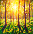 Original oil painting on canvas Forest with sun rays artwork. Modern art nature impressionism. Beautiful forest wood trees in spring with bright sun shining through trees landscape illustration
